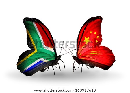 Two butterflies with flags on wings as symbol of relations South Africa and China - stock photo
