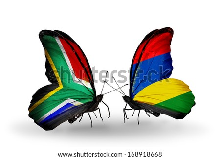 Two butterflies with flags on wings as symbol of relations South Africa and Mauritius - stock photo