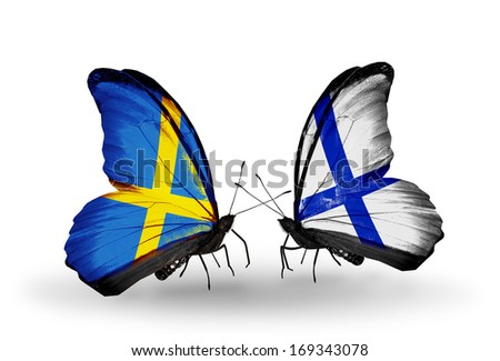 Two butterflies with flags on wings as symbol of relations Sweden and Finland - stock photo