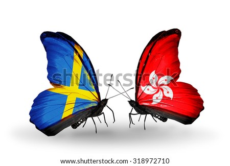 Two butterflies with flags on wings as symbol of relations Sweden and Hong Kong - stock photo