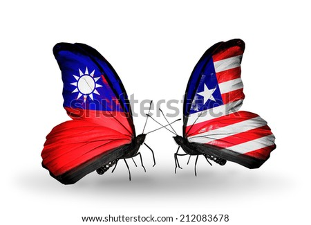 Two butterflies with flags on wings as symbol of relations Taiwan and Liberia - stock photo