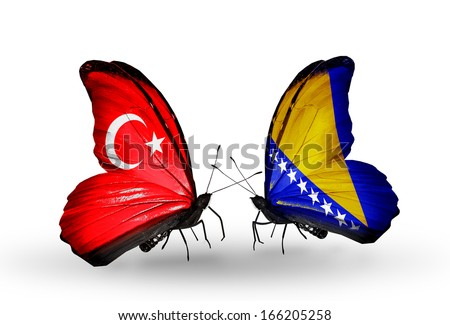 Two butterflies with flags on wings as symbol of relations Turkey and Bosnia and Herzegovina - stock photo
