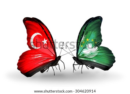 Two butterflies with flags on wings as symbol of relations Turkey and Macau - stock photo