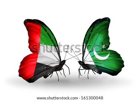 Two butterflies with flags on wings as symbol of relations UAE and Pakistan - stock photo