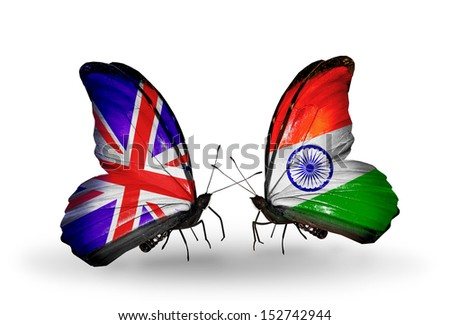 Two butterflies with flags on wings as symbol of relations UK and India - stock photo