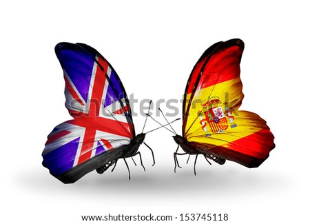 Two butterflies with flags on wings as symbol of relations UK and Spain - stock photo