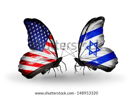 Two butterflies with flags on wings as symbol of relations USA and Argentina - stock photo