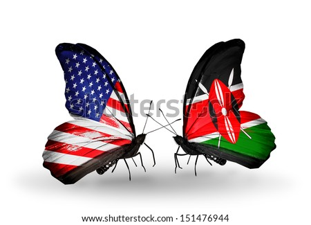 Two butterflies with flags on wings as symbol of relations USA and Kenya - stock photo