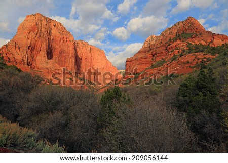 Two buttes in Zion National Park, Utah, USA. - stock photo