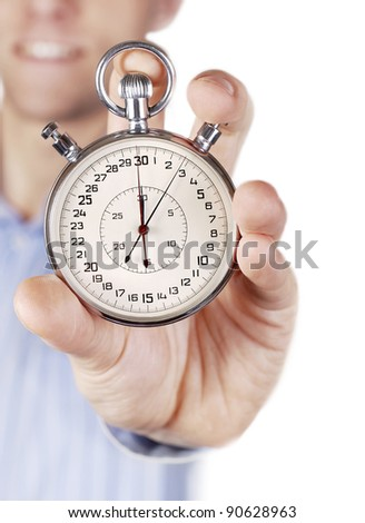 Two buttons stopwatch in outstretched man hand on white background