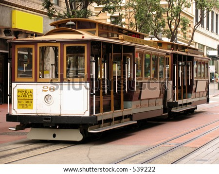 Two Cable Cars on Powell Street - stock photo