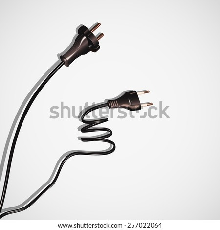 Two cables plug,electrical cords black on white - stock photo