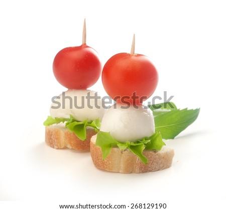 Sandwich isolated on white background stock photo 19342519 for Mozzarella canape