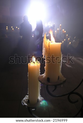 Two candles illumination a festive service