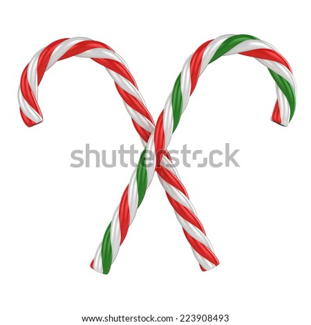 two candy canes isolated on a white background