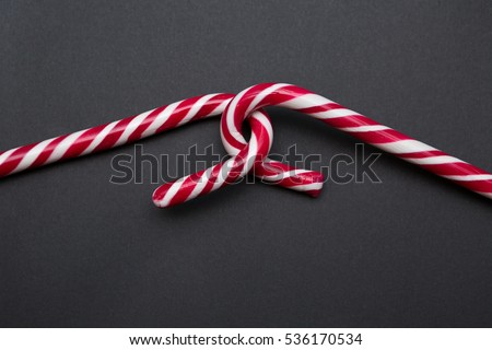 Two Candy Canes Making Hooked Together