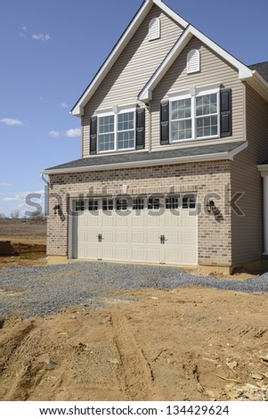 two car garage for a new home construction - stock photo