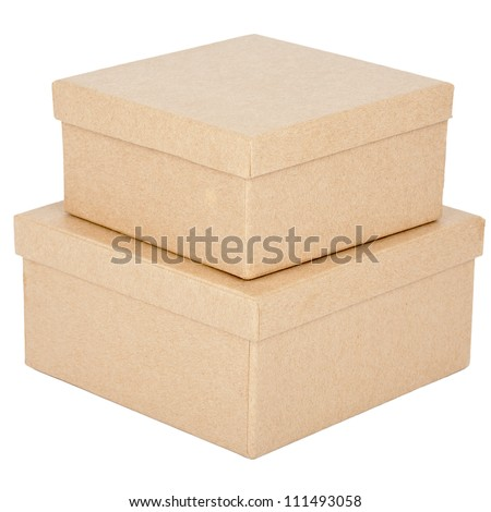 Two cardboard boxes isolated on a white background