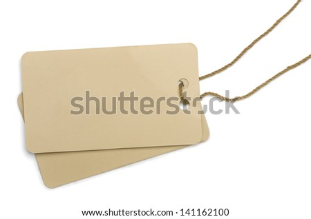 Two cardboard labels  tied with brown string isolated on white