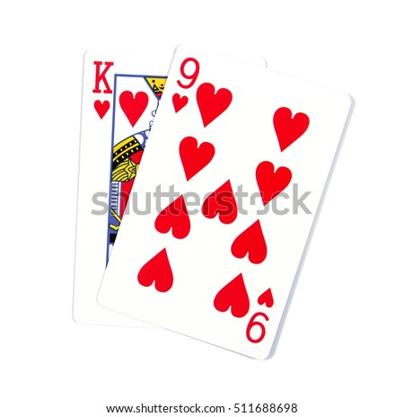 Two cards isolated on white.K and 9 playing cards in hearts isolated