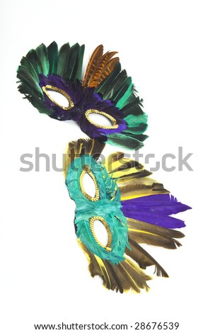 Two carnival mask, on white background