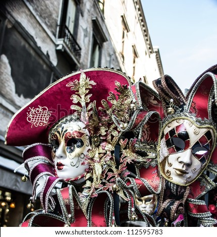 Two Carnival masks in Venice