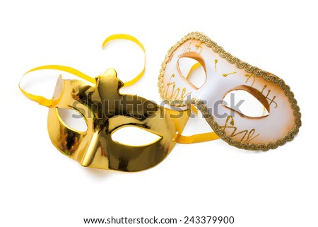 Two carnival masks isolated on white background - stock photo