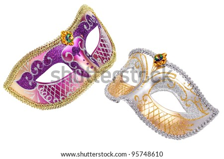 Two Carnival Venetian mask isolated on white background - stock photo