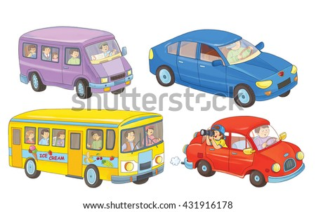Two cars, a bus, and a minibus. Coloring book. Coloring page. Illustration for children. Cute cartoon characters isolated on white background - stock photo