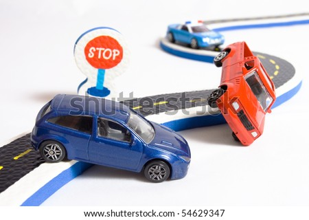 two cars accident crash on road and approaching police, insurance case - stock photo