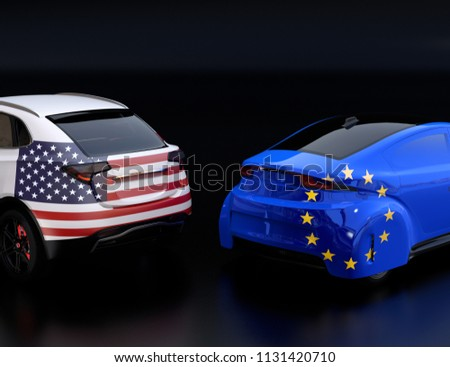Two cars with EU and US flags on rear side. black background. . 3D rendering image.