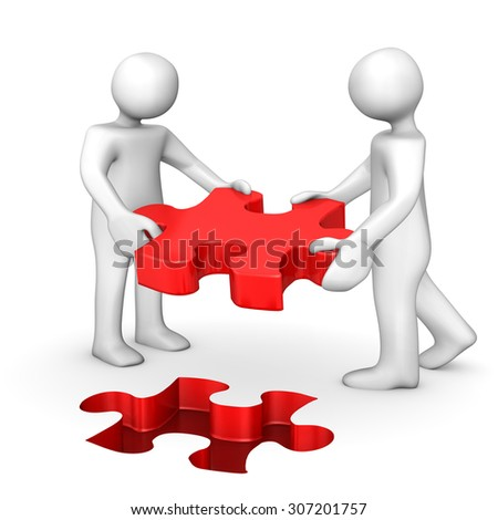 Two cartoon characters with red puzzle on the white. 3d illustration.