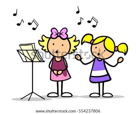 Two Cartoon Children Singing Songs Music Stock ...