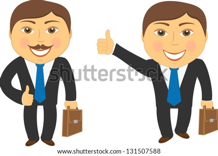 two cartoon successful businessman with portfolio and showing thumb up - stock photo