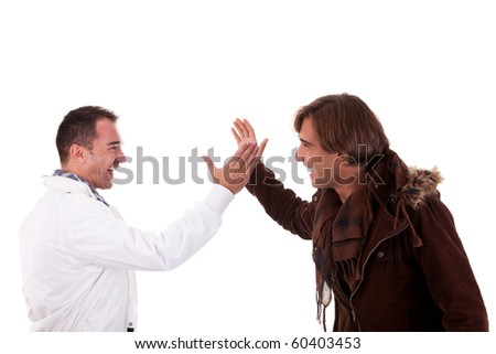 two casual men greeting , isolated on white, studio shot - stock photo