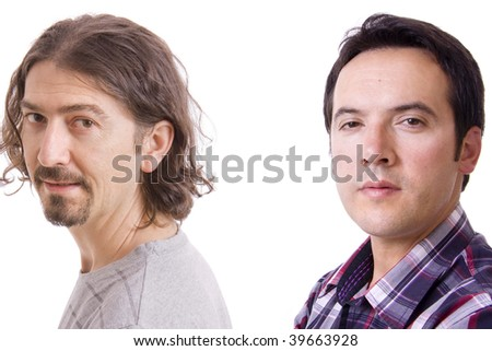 Two casual men posing, isolated over white background - stock photo