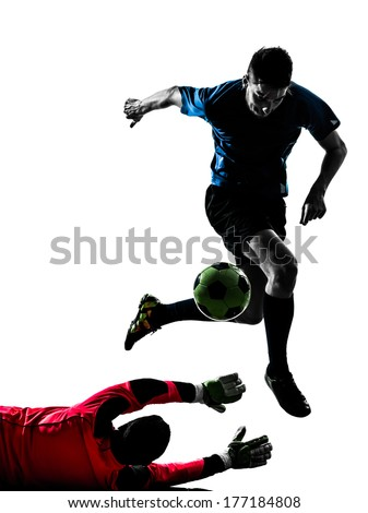 two caucasian soccer player goalkeeper men competition in silhouette isolated white background - stock photo