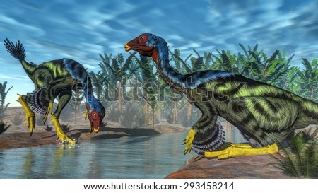Two caudipterix dinosaurs at a river next to pachypteris and onychiopsis plants - 3D render - stock photo