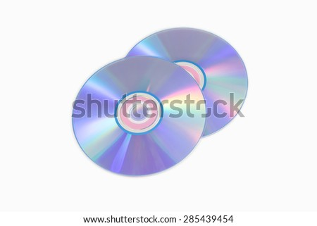 Two CD or DVD on white background - stock photo