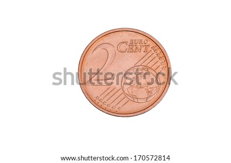 two cent coin free cutted - stock photo