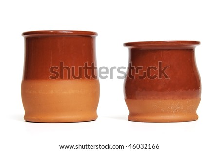 Two ceramic pots - stock photo