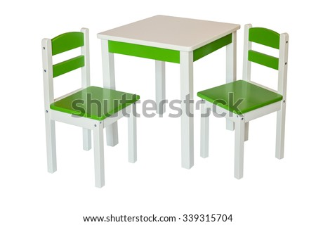 Two Chair and Table for Kids. Isolated. - stock photo