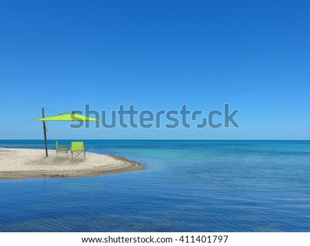two chairs and a parasol on the lonesome beach with a view to the sea