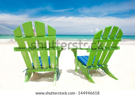 Two chairs on beautiful tropical beach. Tulum, Mexico - stock photo