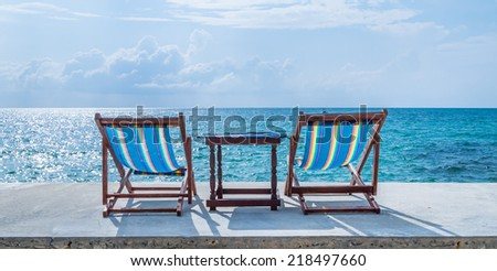 Two chairs on the Island with beautiful sea - stock photo