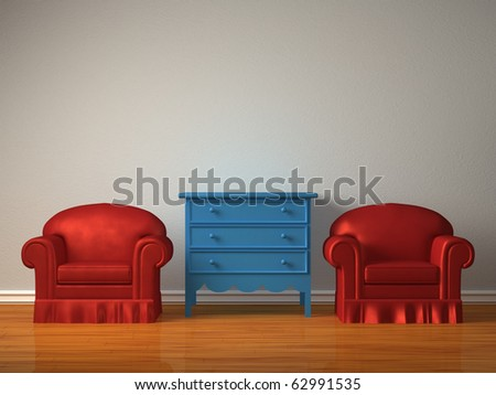 Two chairs with wooden bedside in minimalist interior - stock photo