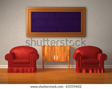 Two chairs with wooden console and  frame in minimalist interior - stock photo