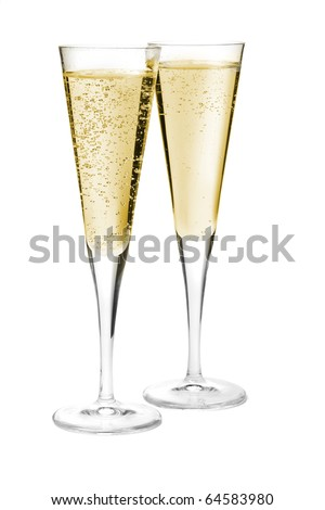 Two champagne glasses. Isolated on white background - stock photo