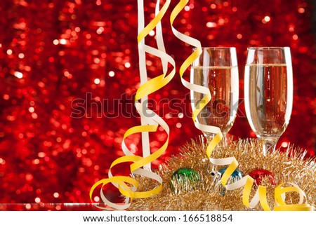 Two Champagne glasses on light bokeh background  - stock photo