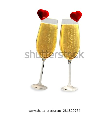 Two champagne glasses with two red hearts on a white background which symbolizes love. - stock photo